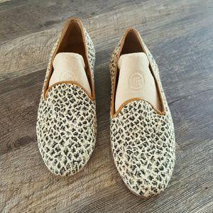 Zalo Leopard canvas needlepoint loafers size 9.5M